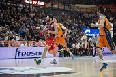 VALENCIA, SPAIN - DECEMBER 7:  San Emeterio ball during Endesa Spanish League game between Valencia Basket Club and Laboral Kutxa Baskonia at Fonteta Stadium on December 7, 2014 in Valencia, Spain