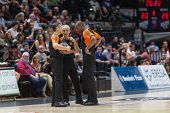 VALENCIA, SPAIN - DECEMBER 5: Referees during Euroleague match between Valencia Basket Club and Crvena Zvezda Telekom Belgrade at Fonteta Stadium on Dicember 5, 2014 in Valencia, Spain