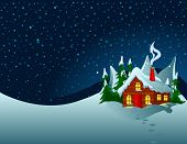 stock photo of snowy hill  - Little house stands on snowy hills - JPG