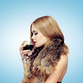Beauty, Drinks And People Concept - Sensual Elegant Woman Enjoying The Taste Of Wine