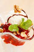 ice cream with fruit sauce