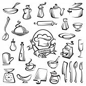 kitchen tools and cooking design elements