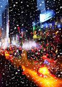 Snowfall. Illumination And Night Lights Of New York City