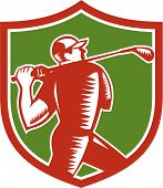 Golfer Swinging Club Shield Woodcut