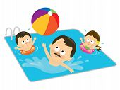 Father and kids playing in a pool (Hispanic)