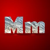 vector set of aluminum or silver foil letters. Letter M