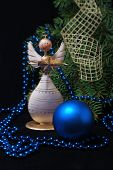 image of blue angels  - Christmas wooden angel with blue and golden decoration - JPG