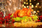 stock photo of turkey dinner  - Christmas table setting with turkey - JPG