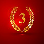 vector illustration of a golden metallic foil laurel wreath on the red vivid background with sparkle