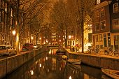 City scenic from Amsterdam in the Netherlands at night