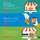 Flat Design Concept For Online Shopping, Pay Per Click And E-commerce. Vector Illustration For Web B