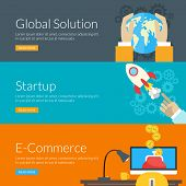 Flat Design Concept For Global Solution, Startup And E-commerce. Vector Illustration For Web Banners