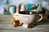Beautiful composition with cup of hot drink