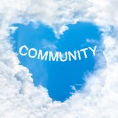 Community Word Cloud Blue Sky Background Only