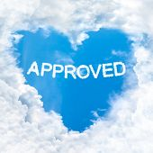 Approved Word Cloud Blue Sky Background Only