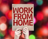 Work From Home card with colorful background with defocused lights