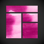 set of vector visual corporate identity with pink paint watercol