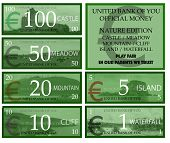 Euro play money with nature theme