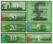 British pound play money with nature theme