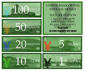 Yuan play money with nature theme