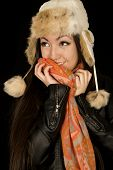 Adorable Asian American Teen Girl Snuggling Her Warm Winter Scarf