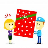 stock photo of postman  - Postman Delivering A Big Present Gift to A Woman  - JPG