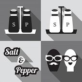 Set of salt and pepper shakers icons