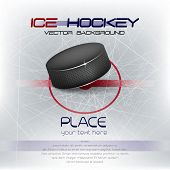picture of ice hockey goal  - Ice hockey background with puck and place for your content - JPG