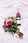 Champagne Bottle with Wedding Valentine Decoration Flowes