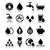 pic of save water  - Vector icons set of water - JPG
