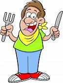 Cartoon hungry man