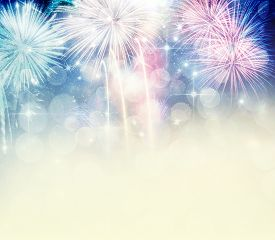 stock photo of gathering  - Abstract holiday background with fireworks and stars  - JPG