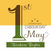 image of labourers  - illustration of stylish colorful text for Happy Labour Day - JPG