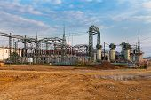 picture of substation  - High voltage power transformer substation - JPG