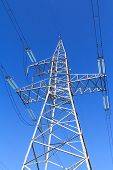 pic of voltage  - High voltage power line against the blue sky - JPG