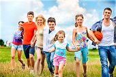 stock photo of children group  - Happy group people with children summer outdoor - JPG