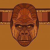 picture of ape  - Ape gorilla head with ethnic ornament - JPG