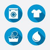 stock photo of washing-machine  - Wash machine icon - JPG