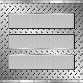 pic of plaque  - three textured plaques on steel sheet   - JPG