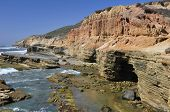 picture of bluff  - Rugged and beautiful bluffs and cliffs line the shore along Point Loma in San Diego - JPG