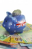 image of year end sale  - Australian Money with Piggy Bank for saving spending or end of financial year sale - JPG