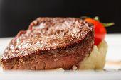 image of mashed potatoes  - steak with mashed potatoes - JPG