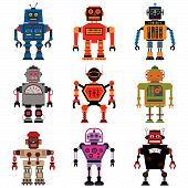 stock photo of robot  - Nine different Vector retro cute little Robots - JPG