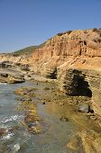 image of shoreline  - Shoreline caves and tidepools are found along the coast of Point Loma in San Diego - JPG