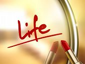 image of sentience  - life word written by red lipstick on glossy mirror - JPG
