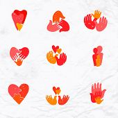 picture of palm  - Vector set of logos with hand - JPG