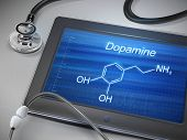 foto of neurotransmitter  - dopamine word display on tablet over table - JPG