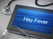 picture of hay fever  - hay fever words display on tablet over table - JPG