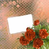 stock photo of san valentine  - Vintage card for congratulations and invitations with bouquet of red peonies - JPG