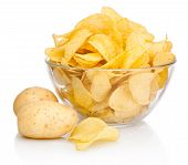 pic of potato chips  - Potato Chips In Glass Bowl Isolated Isolated On White Background - JPG